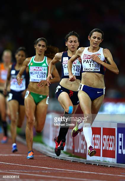 Jo Pavey of Great Britain and Northern Ireland leads the field in the Women's 10000 metres final during day one of the 22nd European Athletics...