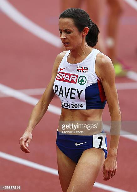 Jo Pavey of Great Britain and Northern Ireland reacts after the Women's 5000 metres final during day five of the 22nd European Athletics...