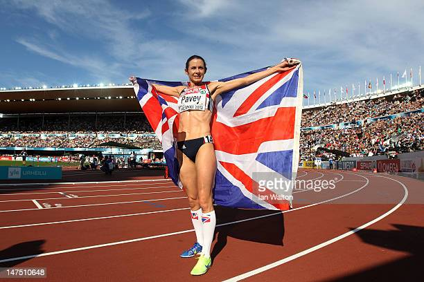 Jo Pavey of Great Britain celebrates winning the silver in the Women's 10000 Metres Final during day five of the 21st European Athletics...