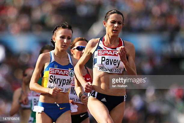 Jo Pavey of Great Britain competes in the Women's 10000 Metres Final during day five of the 21st European Athletics Championships at the Olympic...