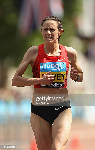 Jo Pavey of Great Britain in action on her way to winning the Bupa London 10000 Run on May 30 2011 in London England