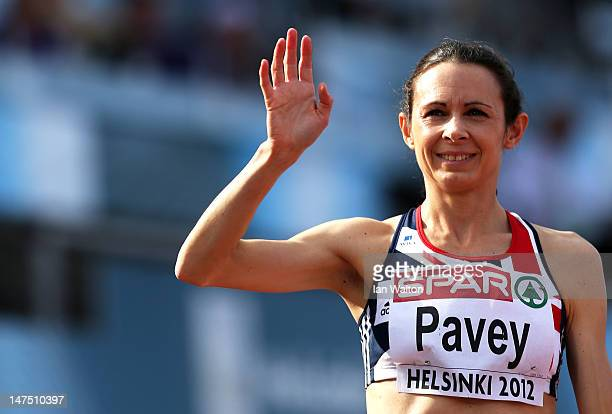 Jo Pavey of Great Britain waves to the crowd prior to the Women's 10000 Metres Final during day five of the 21st European Athletics Championships at...