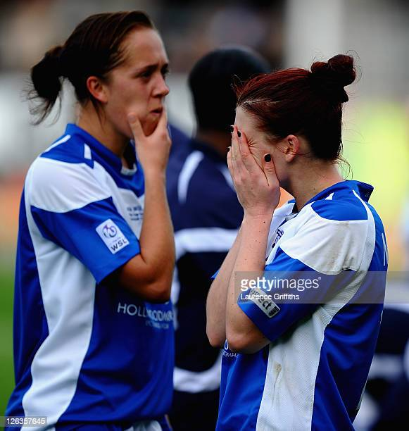 Jo Potter and Jade Moore of Birmingham City ladies show their dissapointment after losing the FA WSL Continental Cup Final between Birmingham City...