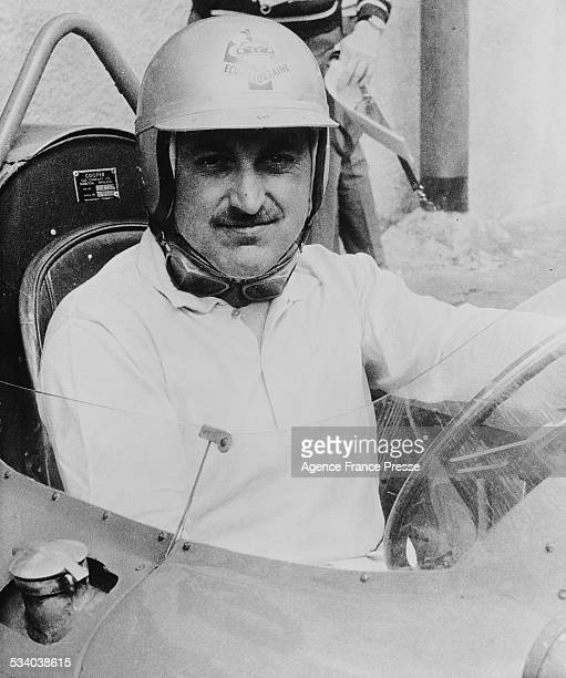 Jo Schlesser of France sits aboard his Formula 2 Cooper T43 Climax FPF France circa 1961