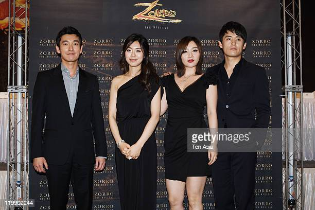 Jo SeungWoo Jo JungEun Lee YoonMi and Choi JaeWoong attend the musical 'Zorro' press conference at Seoul Plaza on July 11 2011 in Seoul South Korea