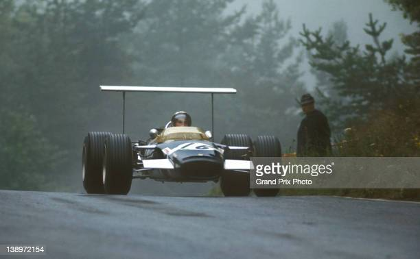 Jo Siffert of Switzerland sits aboard the Rob Walker Racing Team Lotus 49B Cosworth V8 during the German Grand Prix on 4th August 1968 at the...