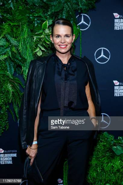 Jo Silvagni arrives ahead of Runway 4 at Melbourne Fashion Festival on March 7 2019 in Melbourne Australia