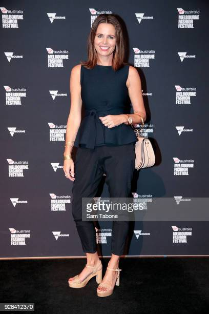 Jo Silvagni arrives ahead of the VAMFF 2018 Runway 3 presented by Harper's BAZAAR on March 7 2018 in Melbourne Australia