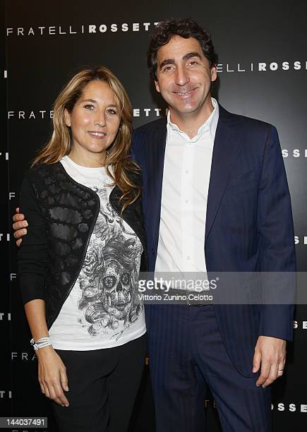 Jo Squillo and Luca Rossetti attend the Fratelli Rossetti Cocktail Party on May 8 2012 in Milan Italy
