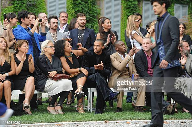 Jo Squillo Aryn DrakeLee and Jesse Williams attend the Roberto Cavalli fashion show as part of Milan Fashion Week Menswear Spring/Summer 2012 on June...
