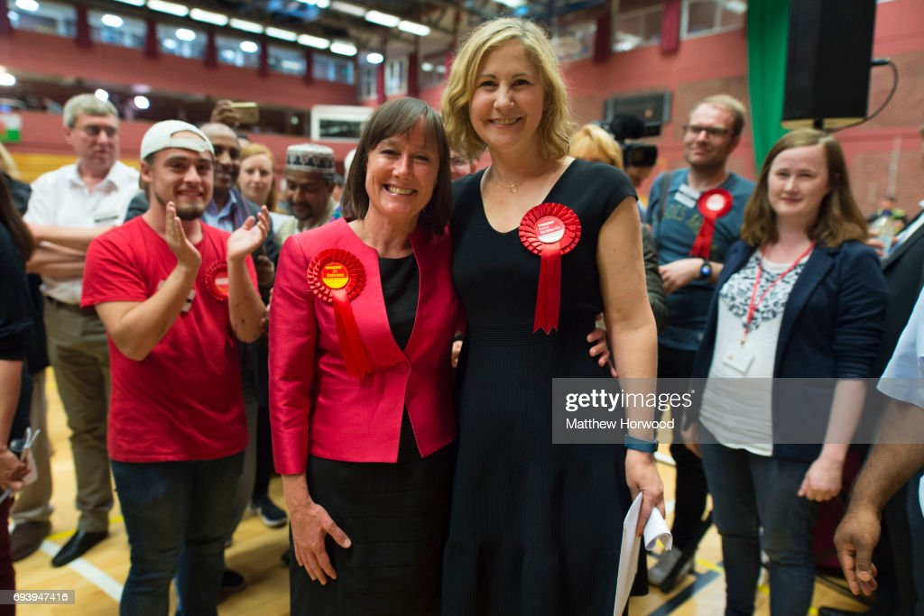 Jo Stevens, Labour MP for Cardiff Central and Anna Anna McMorrin, Labour MP for Cardiff North pose for a picture after winning their respective seats at the Sport Wales National Centre on June 9, 2017 in Cardiff, United Kingdom. After a snap election was called, the United Kingdom went to the polls yesterday following a closely fought election. The results from across the country are being counted and an overall result is expected in the early hours.