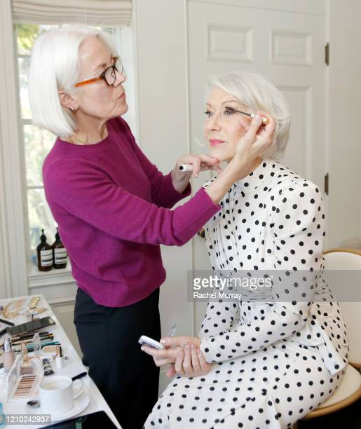 Jo Strettell and Helen Mirren join L'Oréal Paris to celebrate the launch of Age Perfect Cosmetics on March 03, 2020 in Beverly Hills, California.