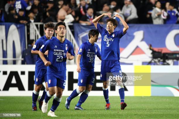 Jo Sung-Jin of Suwon Samsung Bluewings celebrates after scoring a second goal during the AFC Champions League semi final second leg match between...