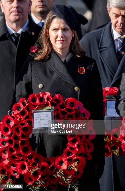 Jo Swinson attends the annual Remembrance Sunday memorial at The Cenotaph on November 10 2019 in London England