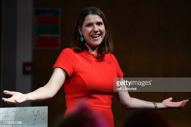 Jo Swinson CBE leader of the Liberal Democrats gestures as she gives a keynote speech to over 300 schoolgirls registered to attend the free event at...