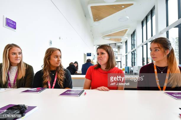Jo Swinson CBE leader of the Liberal Democrats speaks to a group of female students during a free event promoting careers in assetmanagement at the...