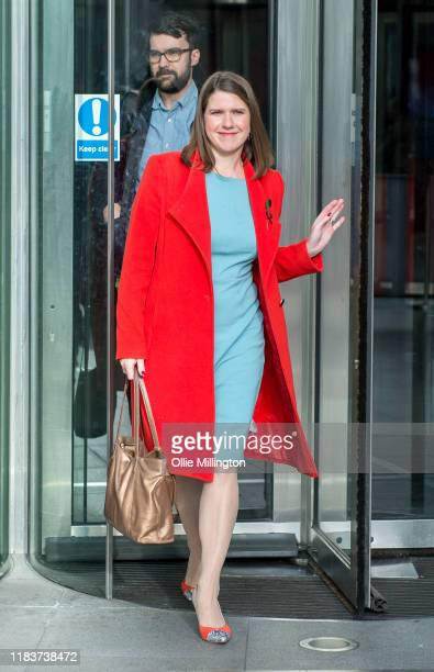 Jo Swinson leader of The Liberal Democrats attends Andrew Marr's BBC Political Sunday Morning Show at BBC Broadcast House on October 27 2019 in...