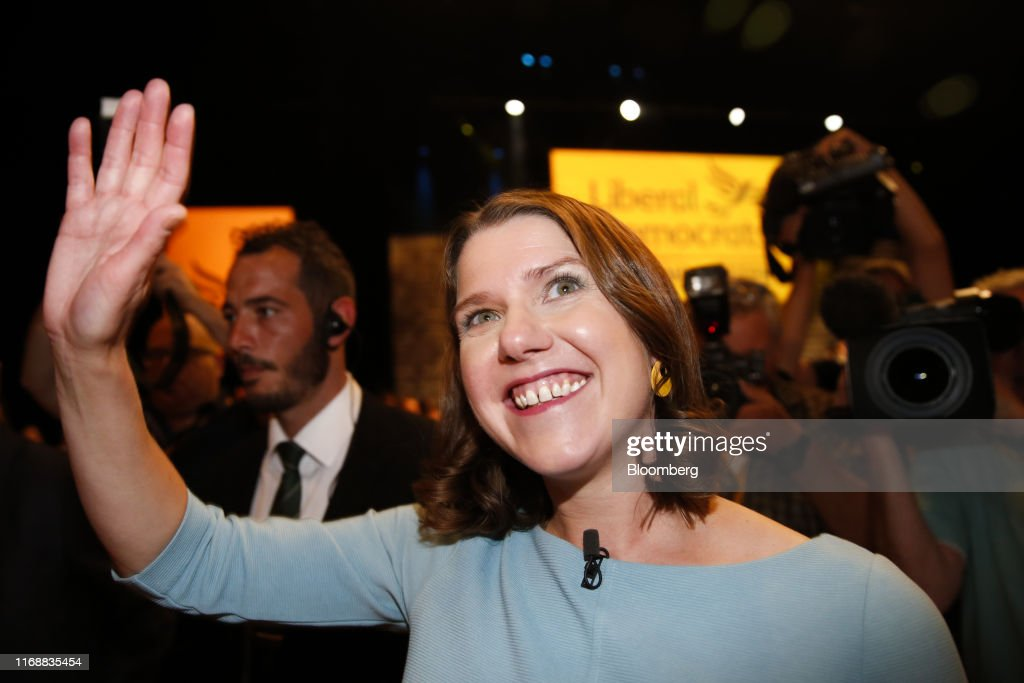 Lib Dem Leader Swinson Says Brexit Will Put Lives at Risk : News Photo