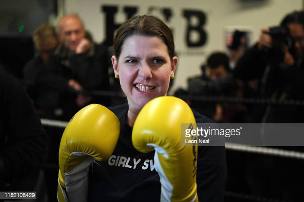 Jo Swinson Leader of the Liberal Democrats poses as she campaigns at a boxing gym for young people on November 13 2019 in London England The United...