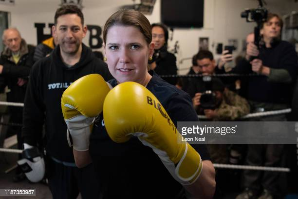 Jo Swinson Leader of the Liberal Democrats takes part in some boxing practice as she campaigns at a boxing gym for young people on November 13 2019...