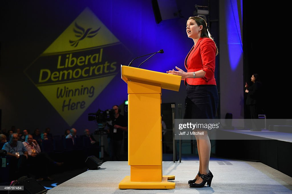 Jo Swinson MP for East Dunbartonshire addresses the Liberal Democrat Autumn conference on October 6, 2014 in Glasgow, Scotland. Delegates and activists are currently gathered in Glasgow for the final Liberal Democrat conference before next years general election.