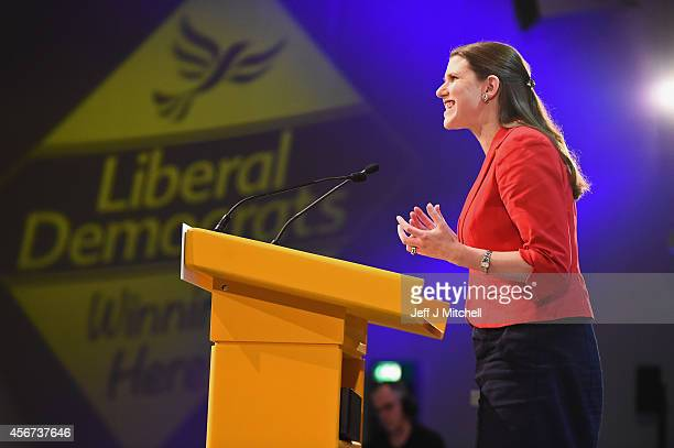 Jo Swinson MP for East Dunbartonshire addresses the Liberal Democrat Autumn conference on October 6 2014 in Glasgow Scotland Delegates and activists...