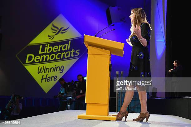 Jo Swinson the Liberal Democrat MP for East Dunbartonshire opens the Liberal Democrat Party Conference on October 4 2014 in Glasgow Scotland Liberal...