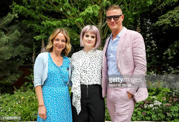 Jo Thompson, Kelly Osbourne and David Graham visit the Wedgewood Garden & Tea Conservatory at the Chelsea Flower Show 2019 on May 24, 2019 in London,...