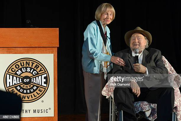Jo Walker Meader Former Executive Director CMA and new inductee to the CMHOF Mac Wiseman attend the 2014 Country Music Hall Of Fame Inductees...