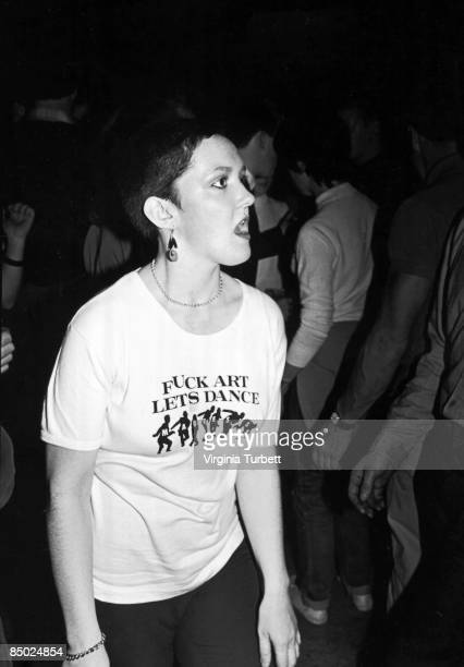 Jo Wallace wears a tshirt reading 'Fuck Art Let's Dance' while dancing to ska 2tone and soul music at the 6Ts Rhythm and Soul Night held at The...
