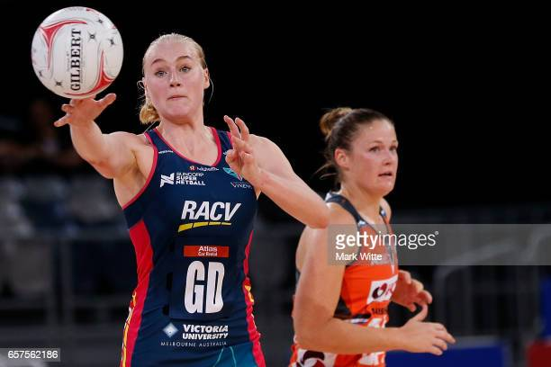Jo Weston of Melbourne Vixens throws the ball during the round six Super Netball match between the Vixens and the Giants at Hisense Arena on March 25...