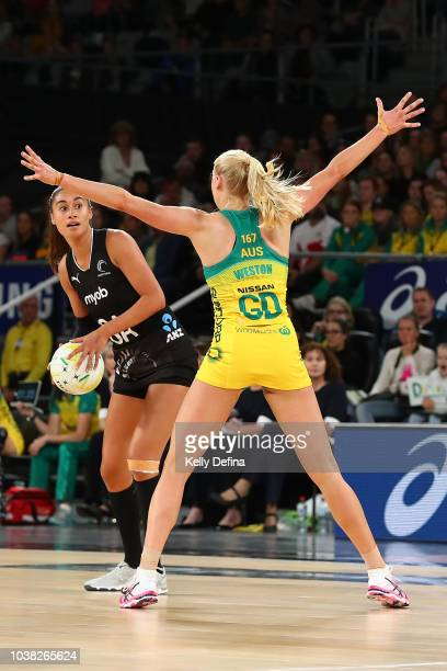 Jo Weston of the Diamonds defends Maria Folau of the Silver Ferns during the Quad Series International Test match between the Australian Diamonds and...
