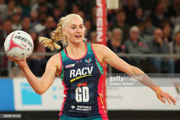 Jo Weston of the Vixens looks to pass during the round 12 Super Netball match between the Vixens and the Giants at Hisense Arena on July 22 2018 in...