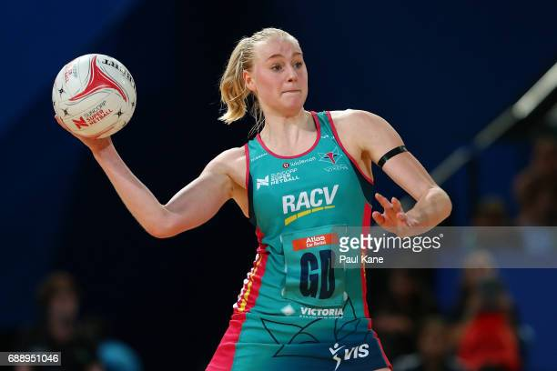 Jo Weston of the Vixens passes the ball during the round 14 Super Netball match between the Fever and the Vixens at Perth Arena on May 27 2017 in...