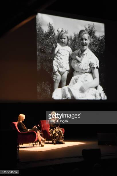 Jo Whiley and Annie Lennox speak on stage during 'Annie Lennox An Evening of Music and Conversation' at Sadler's Wells Theatre on March 4 2018 in...