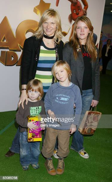 Jo Whiley and children India Jude and Cas attend The Magic Roundabout UK Charity Premiere at Vue Leicester Square on January 30 2005 in London