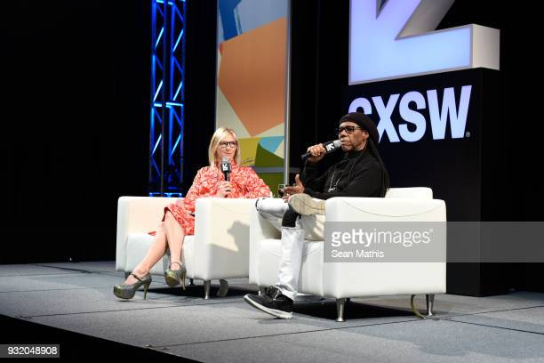 Jo Whiley and Nile Rodgers speak onstage at Music Business 101 A QA with Legendary Music Icon Nile Rodgers during SXSW at Austin Convention Center on...