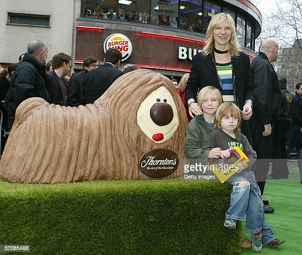Jo Whiley and sons Jude and Cas attend The Magic Roundabout UK Charity Premiere at Vue Leicester Square on January 30 2005 in London