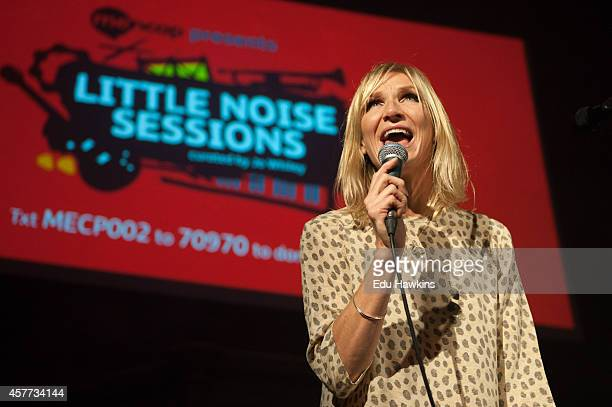 Jo Whiley appears on stage to introduce Mancap's Little Noise Sessions at the Union Chapel on October 23 2014 in London United Kingdom