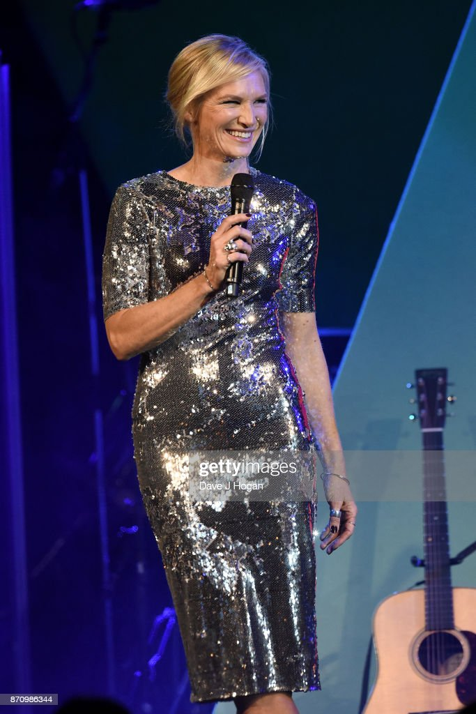 Jo Whiley speaks on stage at the 26th annual Music Industry Trust Awards held at The Grosvenor House Hotel on November 6, 2017 in London, England.