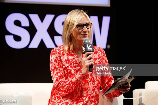 Jo Whiley speaks onstage at Music Business 101 A QA with Legendary Music Icon Nile Rodgers during SXSW at Austin Convention Center on March 14 2018...