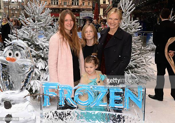 Jo Whiley with her children India Cassius and Coco attend Disney's Frozen celebrity screening at the Odeon Leicester Square on November 17 2013 in...