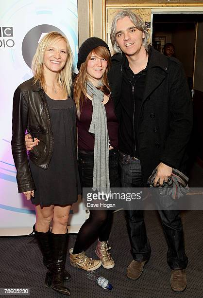 Jo Whiley with her daughter India and husband Steve Morton attend the Radio One Christmas Party held at the BBC Maida Vale Studios on December 21...