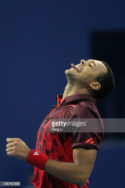 Jo- Wilfreid Tsonga of France celebrates his win over Juan Carlos Ferrero of Spain during the China Open at the National Tennis Center on October 7,...