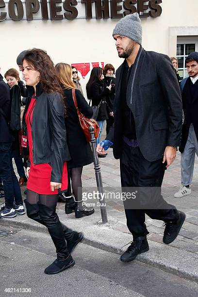 Jo Wilfried Tsonga and his girlfriend Noura El Swekh attend the Y3 show Menswear Fall/Winter 20152016 Show as part of Paris Fashion Week > on January...