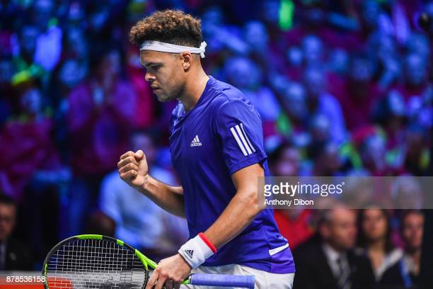 Jo Wilfried Tsonga of France celebrates during the day 1 of the Final of the Davis Cup match between France and Belgium at Stade Pierre Mauroy on...