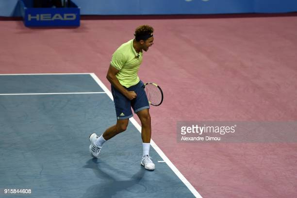 Jo Wilfried Tsonga of France celebrates his Victory during the Open Sud of France ATP Montpellier on February 8 2018 in Montpellier France