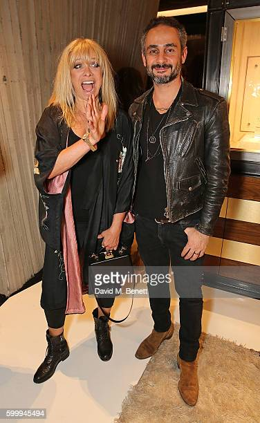 Jo Wood and Ara Vartanian attend the Ara Vartanian store opening party on Bruton Place on September 7 2016 in London England