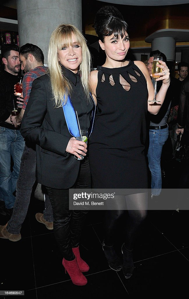 Jo Wood and Gizzi Erskine at W London - Leicester Square for the launch of Gizzi Erskine's remix of the W Rock Tea and her book 'Skinny Weeks and Weekend Feasts' on March 26, 2013 in London, England.