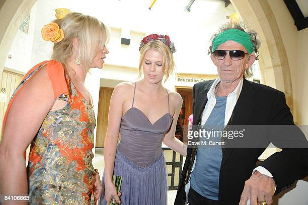 Jo Wood and Keith Richards attend the wedding of Leah Wood and Jack MacDonald at Southwark Cathedral on June 21 2008 in London England